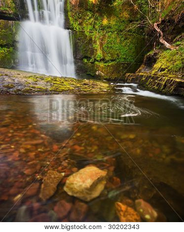 Spring Waterfall In Brecon Beacons, Wales