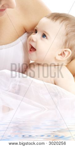 Happy Baby Boy With Mama In Water