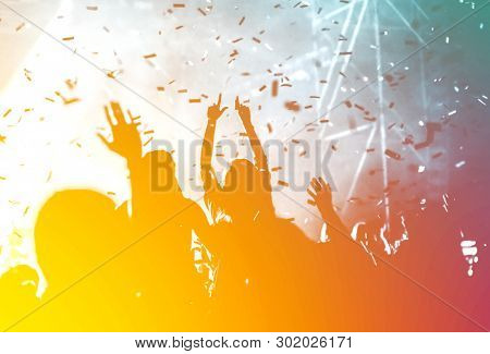 poster of crowd at summer music festival - cheerful pastel colors