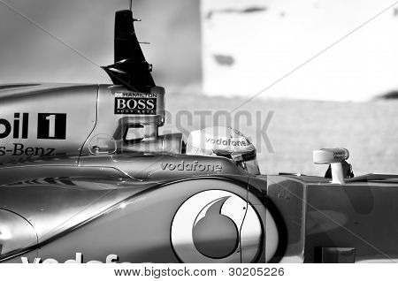 Lewis Hamilton Black & White Cockpit