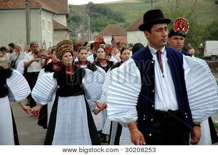Wedding participants in traditional hungarian clothes