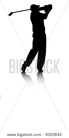Golfer Silhouette With Reflection