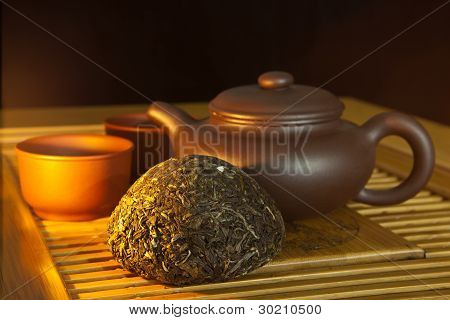 Chinese Puer Tea And Tea Set