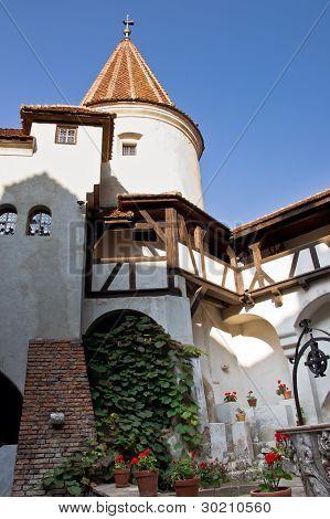 Courtyard of Bran (Dracula) Castle. Transylvania, Romania.