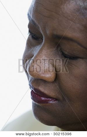 Close-up of middle-aged woman's face
