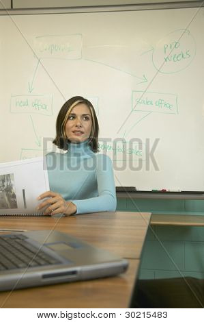 Businesswoman sitting at a conference table