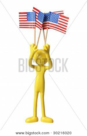 Figure With American Flags