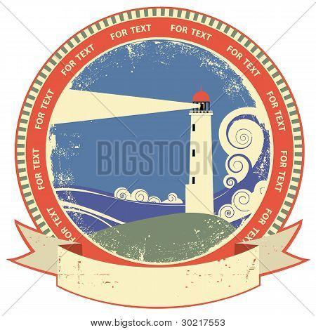 Lighthouse Symbol.vintage Label On Old Paper Texture