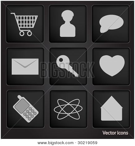 Web Icons In Black Square Button