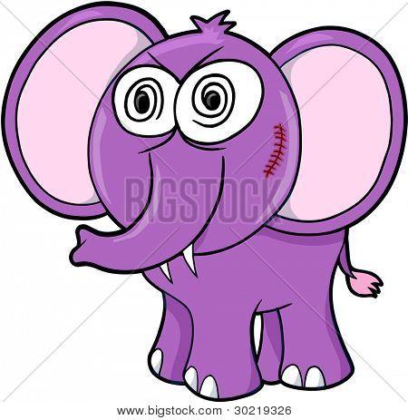 Crazy Insane Elephant Vector Illustration Art