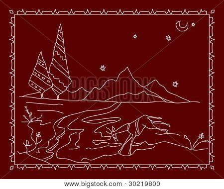 agua potable de ciervos, Folk Motif diseño mural