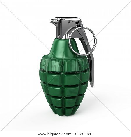 mk-2 hand grenade isolated on white