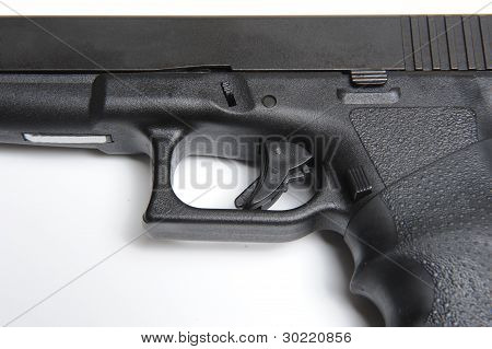 Close up picture of 9mm pistol