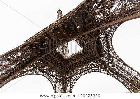 Wide Angel View Of Eiffel Tower From Below