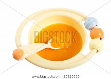 Children Plate With Pumpkin Porridge.