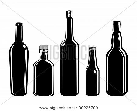 Five Vector Bottles