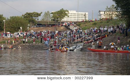 KANSAS CITY, KS - AUGUST 24: Kayak and canoes are launching at the start of 5th Missouri River 340 Race, August 24, 2010, at Kaw Point (confluence of Missouri and Kansas Rivers) in Kansas City, KS