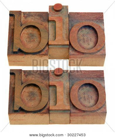 biography or biology concept, bio shortening word  in vintage wooden letterpress printing blocks isolated on white, two layouts
