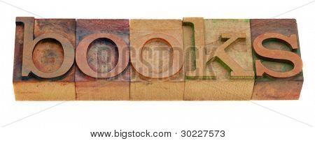 books - word in vintage letterpress printing blocks isolated on white