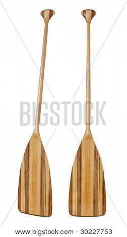 wooden (basswood, butternut and red alder)) cruising canoe paddle with bent shaft and tip reinforced with fiberglass, isolated on white, two views