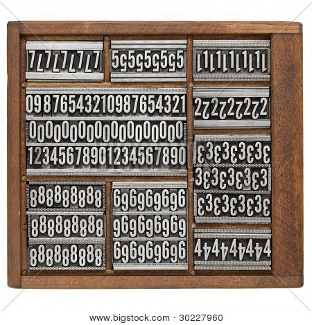 numbers and ornaments - vintage metal printing blocks in wood retro typesetter box, isolated on white