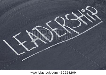 leadership word in white chalk handwriting on blackboard