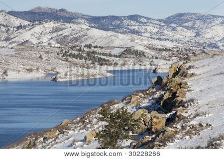 Horsetooth Reservoir in Fort Collins, Colorado with a view of Lory State Park and Greyrock - winter scenery with fresh snow