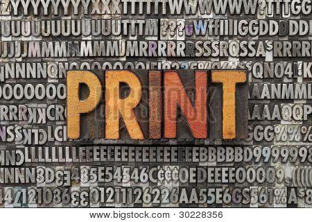 print - text in vintage wood letterpress printing blocks against grunge metal typeset
