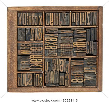 vintage wood letterpress printing blocks abstract with variety of  letters, numbers, ligature (condensed gothic font) in old box