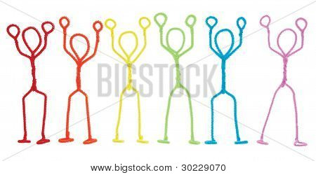 Stick Figures Stickup - Arms Raised Overhead