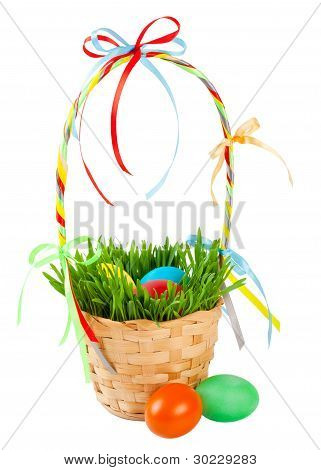 Easter eggs in basket with green grass