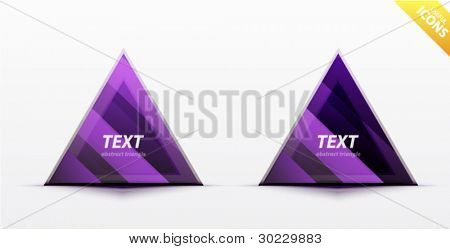 Business purple triangle icon set - light glossy translucent surface