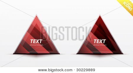 Business red triangle icon set - light glossy translucent surface