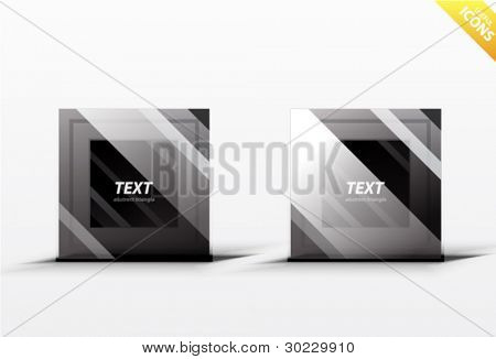 Business black square design elements. Striped dark square icons. Professional clean luxury style