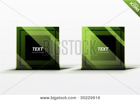 Business green square design elements. Striped dark square icons. Professional clean luxury style