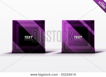 Business violet square design elements. Striped dark square icons. Professional clean luxury style