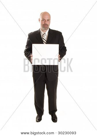 Fashion - Men - Businessman With Blank Sign
