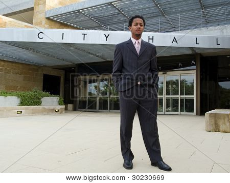 Serious Businessman At City Hall