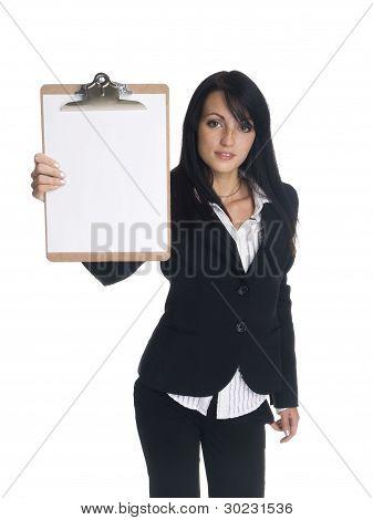 Businesswoman - Presenting Clipboard