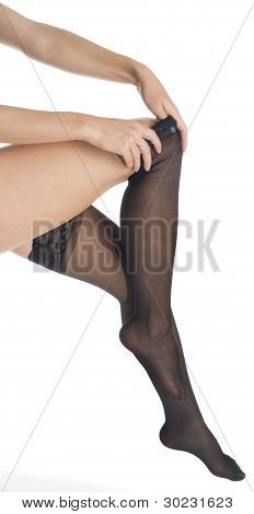 Woman - Black Stockings