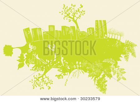 friendly green cityscape, fantasy backround with buildings, trees, happy people and flowers