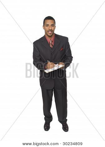 Businessman - Writing On Clipboard