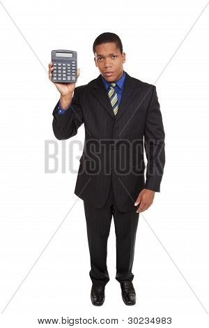 Businessman - Presenting Calculator