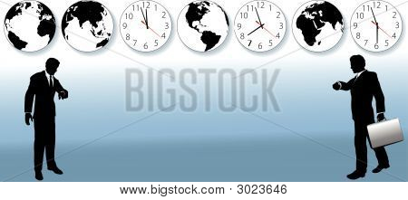 World Business People Time Travel Clocks.Eps