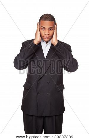 Hear No Evil - African American Businessman Isolated On White