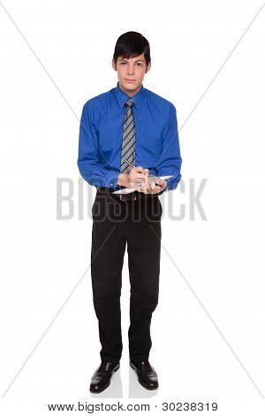 Clipboard Notes - Caucasian Businessman Writing