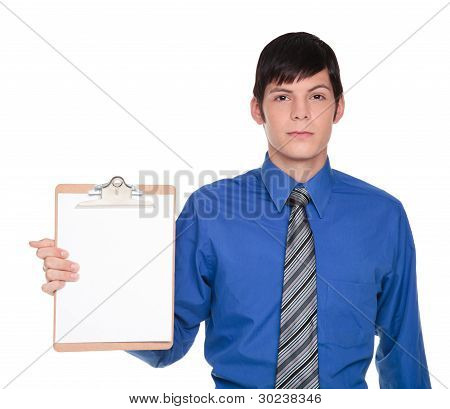 Clipboard Presentation - Caucasian Businessman