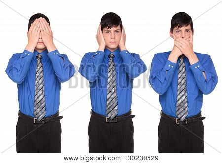 See Hear Speak No Evil - Caucasian Businessman Posing