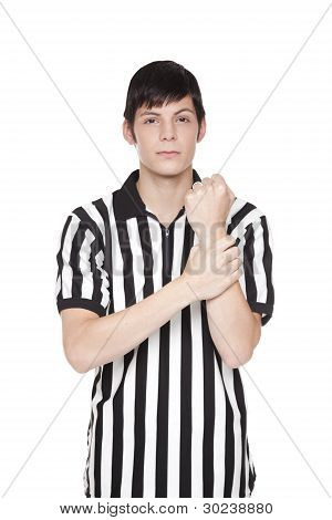Young Adult Man In Referee Uniform Making Holding Penalty Sign