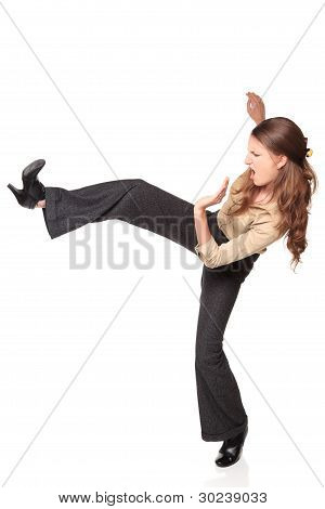 Businesswoman - High Kick Side View